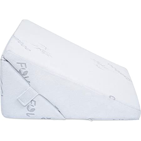 FOVERA Adjustable Memory Foam Bed Wedge Pillow for Legs and Back Support - Acid Reflux, Snoring, Heartburn, Reading (White Bamboo)