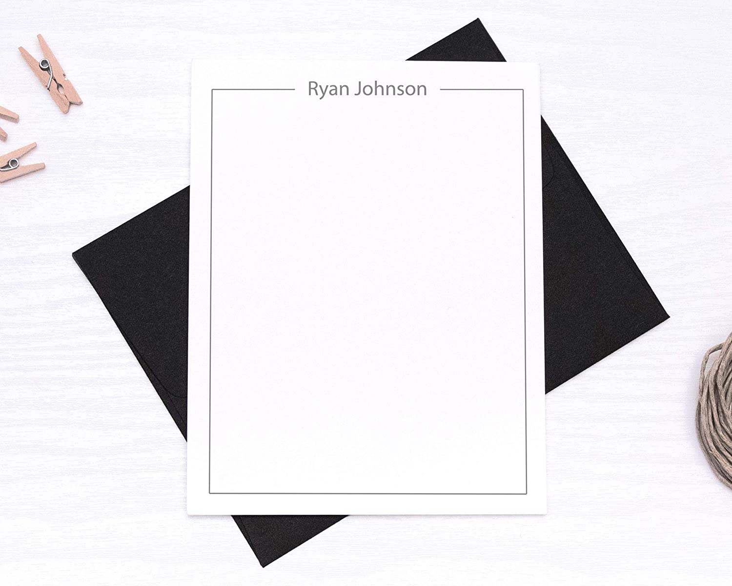 Personalized Stationary Cards and Envelopes for Men Set OFFicial ...