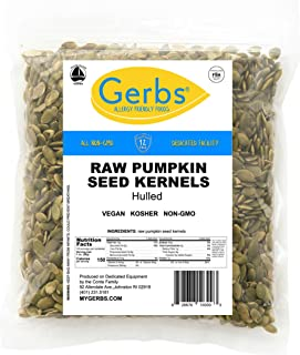 GERBS Raw Hulled Pumpkin Seed Kernels, 16 ounce Bag, Top 14 Food Allergen Free, Non GMO, Vegan, Keto, Paleo Friendly