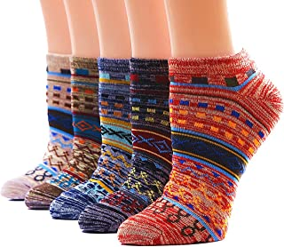 Dr. Anison Womens No Show Socks Ankle Warm Cotton Vintage Liner Socks Pack of 5 Pair …