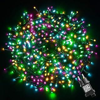 GlobaLink Kerstverlichting kleurrijk, 50M 500 LED-lichtketting buiten veelkleurig 8 standen met geheugenfunctie Waterdicht...