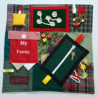 GeriGuard Solutions Memory Loss & Alzheimer's Activity Fidget Quilt with MY FAMILY Photo Pocket, RED & GREEN, 21