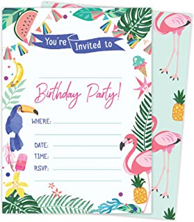 Hawaiian HI Maui Tropical Happy Birthday Invitations Invite Cards (25 Count) with Envelopes and Seal Stickers Vinyl Boys Girls Kids Party (25ct)