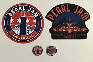 Pearl Jam chicago sticker button set 2018 wrigley field 2 each new
