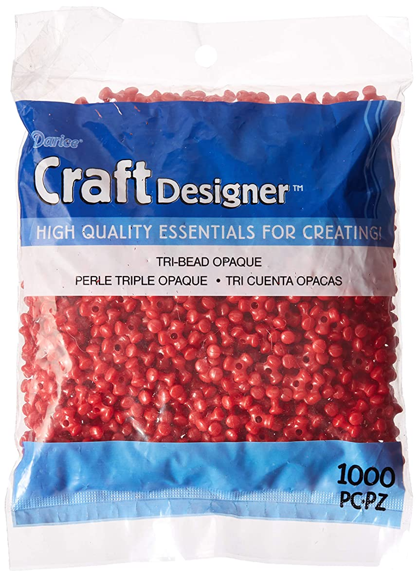 Tri-Beads 06102-7-01 Bead Tri Opaque 11mm (1000 Pack) Red