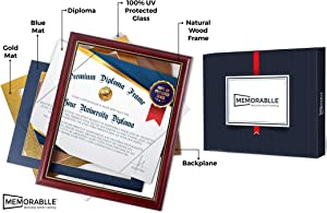 Diploma Frame - Real Wood and UV Protected Glass Degree Frame Size 8.5 x 11 Inch with Mat and 11 x 14 Inch without Mat - Frame your Certificates and Documents - Award Wall Hanging or Tabletop Display