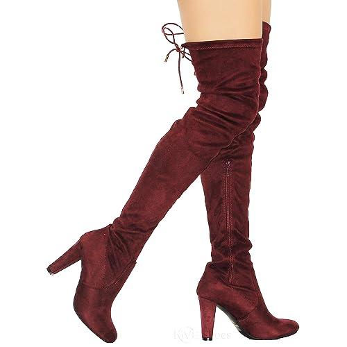 c7f8d327a1c MVE Shoes Women s Stretch Thigh High Heeled Boots