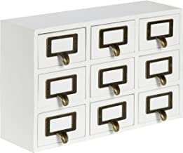 Kate and Laurel Apothecary Wood Desk Drawer Set, 9 Drawers, White