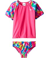 Speedo Kids - Short Sleeve Printed Rashguard Two-Piece Swimsuit Set (Little Kids)