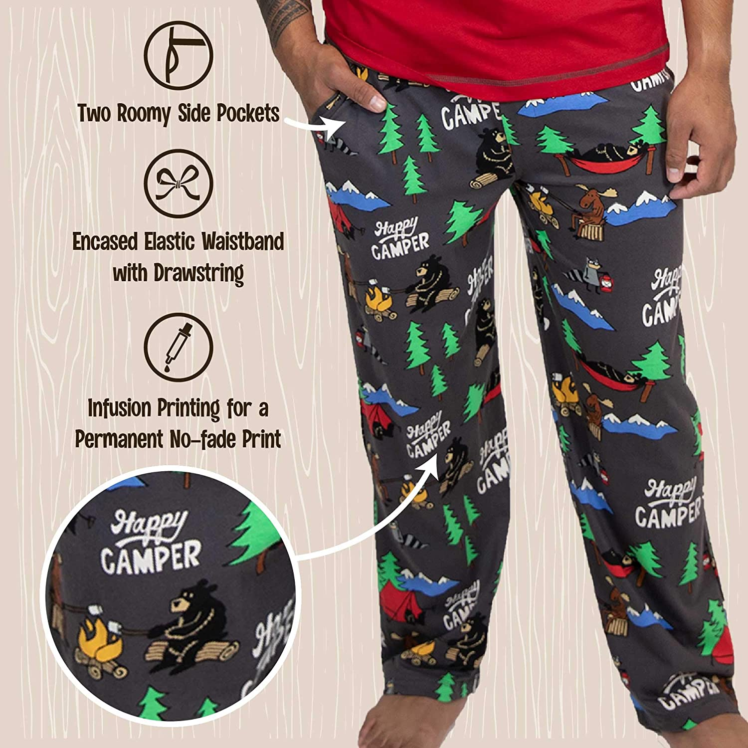 Funny Mens Separate Bottoms Lazy One Pajama Pants for Men Humorous Lounge Pants