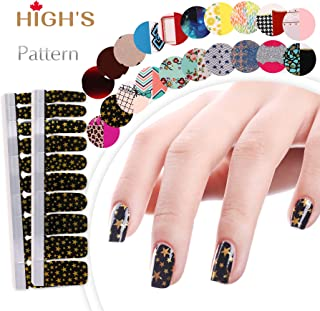 HIGH'S EXTRE ADHESION 20pcs Nail Art Transfer Decals Sticker Pattern Series The Cocktail Collection Manicure DIY Nail Polish Strips Wraps for Wedding,Party,Shopping,Travelling (Shooting Star)