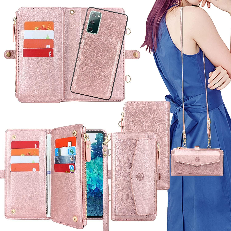 Harryshell [12 Card Slots] [Block Theft Card Scanning], Detachable Magnet Wallet Case Cover Cash Bill Zipper Pocket Crossbody Lanyard Strap for Samsung Galaxy S20 FE 5G (2020) (Floral Rose Gold)