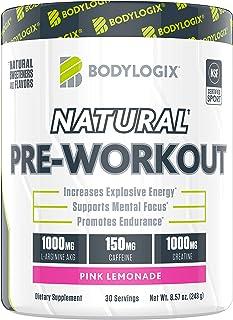 Bodylogix Natural Pre-Workout Powder, NSF Certified for Sport, Pink Lemonade, 30 Servings