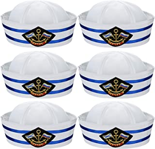 6 Pieces Halloween White and Blue Sailor Hat Captain Caps Yacht Nautical Hats for Adult Sailor Costume, Dress Up Party Hats