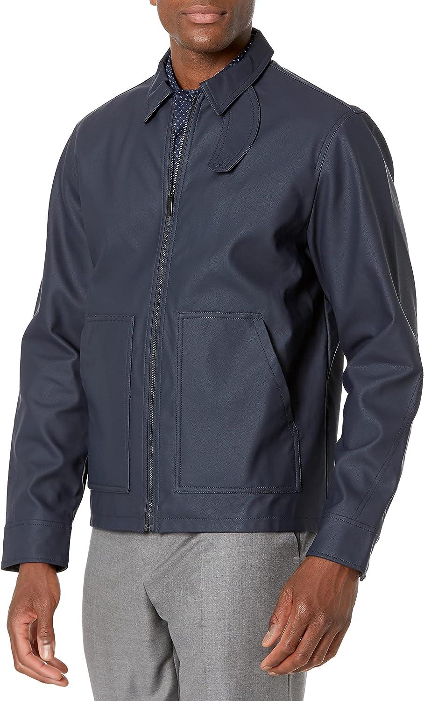 Perry Ellis Men's Nubuck Leather Bomber Jacket