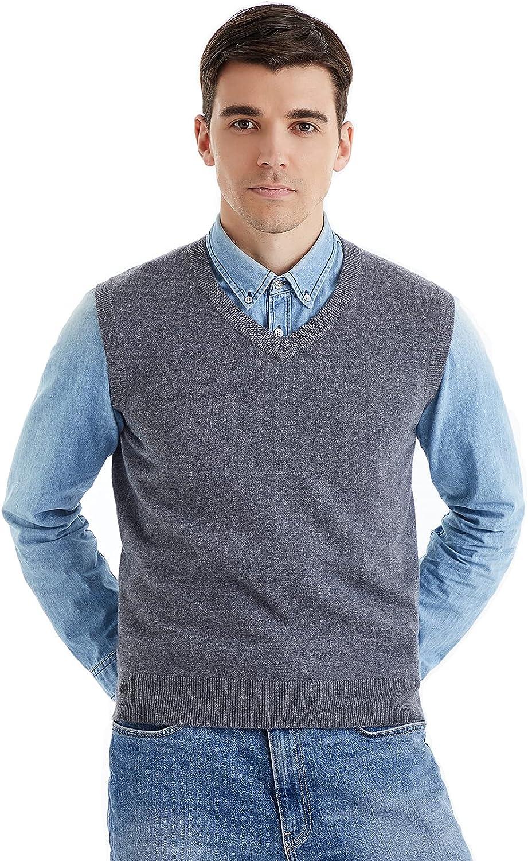 LANPULUX Men's Rapid rise V Neck Sweater Vest List price 100% Sleevel Pure Wool Merino