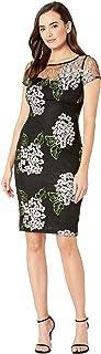 فستان متوسط الطول للنساء من Adrianna Papell مزين بالزهور والدانتيل