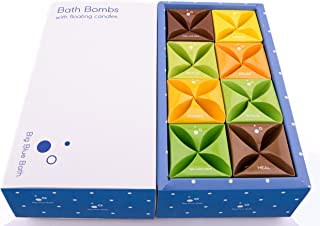 Bath Bombs Gift Set With Scented Candles - Large, Natural - Bath Gift Set Ideas For Women, Kids by Big Blue Bath