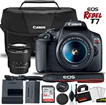 Canon EOS Rebel T7 DSLR Camera with 18-55mm Lens Starter Bundle + Includes: Canon EOS Bag + Sandisk Ultra 64GB Card + Clea...