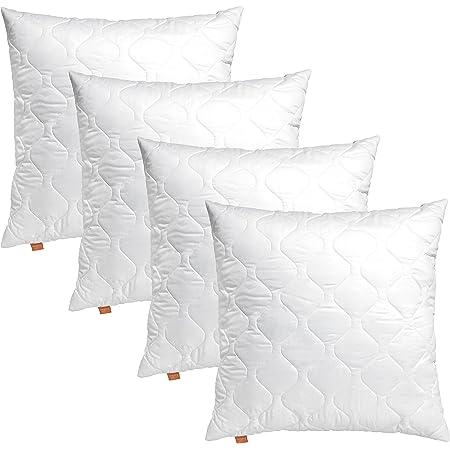 sleepling Comfort 191175 Lot de 4 Coussins de canapé en Microfibre 40 x 40 cm, Blanc