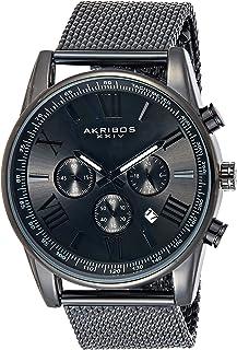 Father's Day Gift - Akribos XXIV Swiss Chronograph Quartz Watch - Round Radiant Sunburst Dial - Stainless Steel Mesh Strap - Omni Men's Dress Watch - AK813