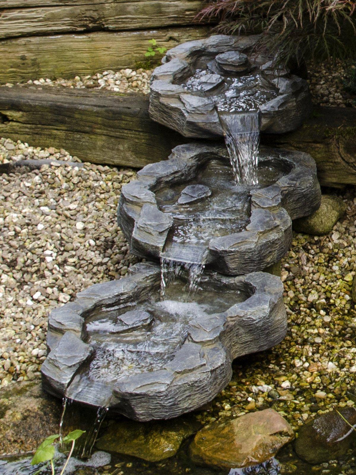 Köhko 140016, Curso de arroyos de 3 partes El estuario del Elba en aspecto de piedra natural, Extensión de cascada aproximadamente 140 cm x 40 cm, 1 litro, gris: Amazon.es: Jardín