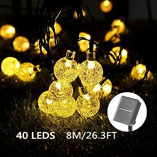 Solar Luces Decorativas 40 LED 8M/26.3FT Impermeable Solar Bola de Cristal Luz Decorativa Luces Exterior Solar Cadena Solar de Luces para Jardín Festival Árbol de Navidad Fiesta Boda (Blanco Cálido)