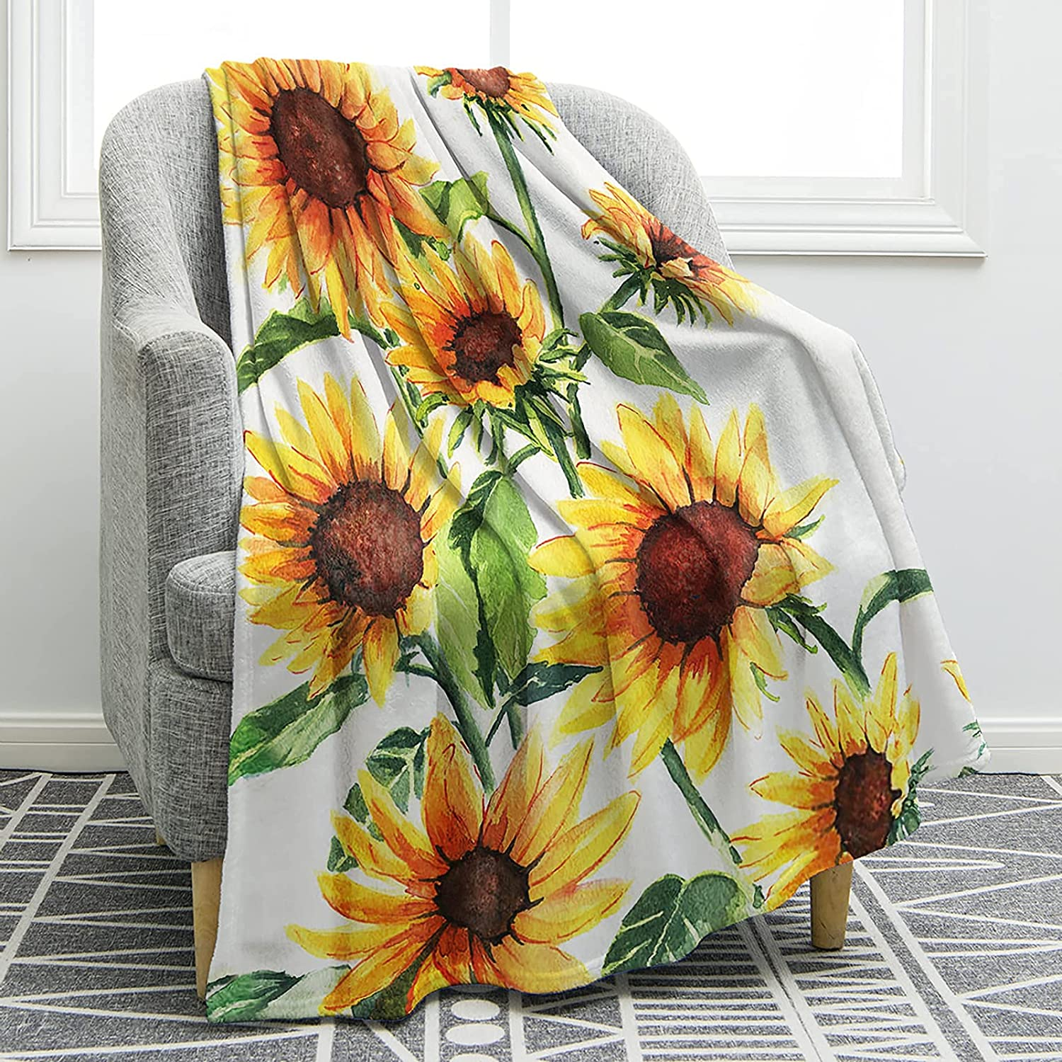 Hejurvt Sunflower Blanket Recommended Print Cozy Soft Warm Throw Bed Bargain B Couch