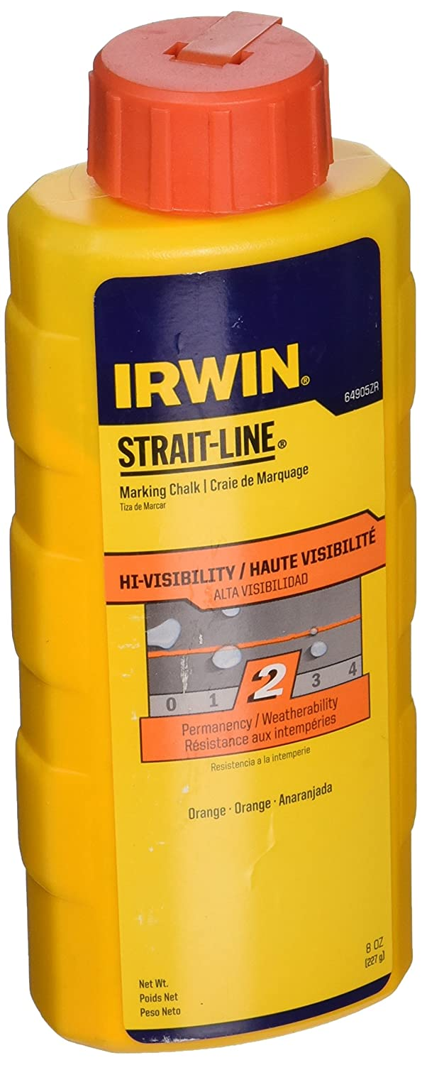 IRWIN Tools STRAIT-LINE High-Visibility Marking Chalk, 8-ounce, Orange (64905ZR)