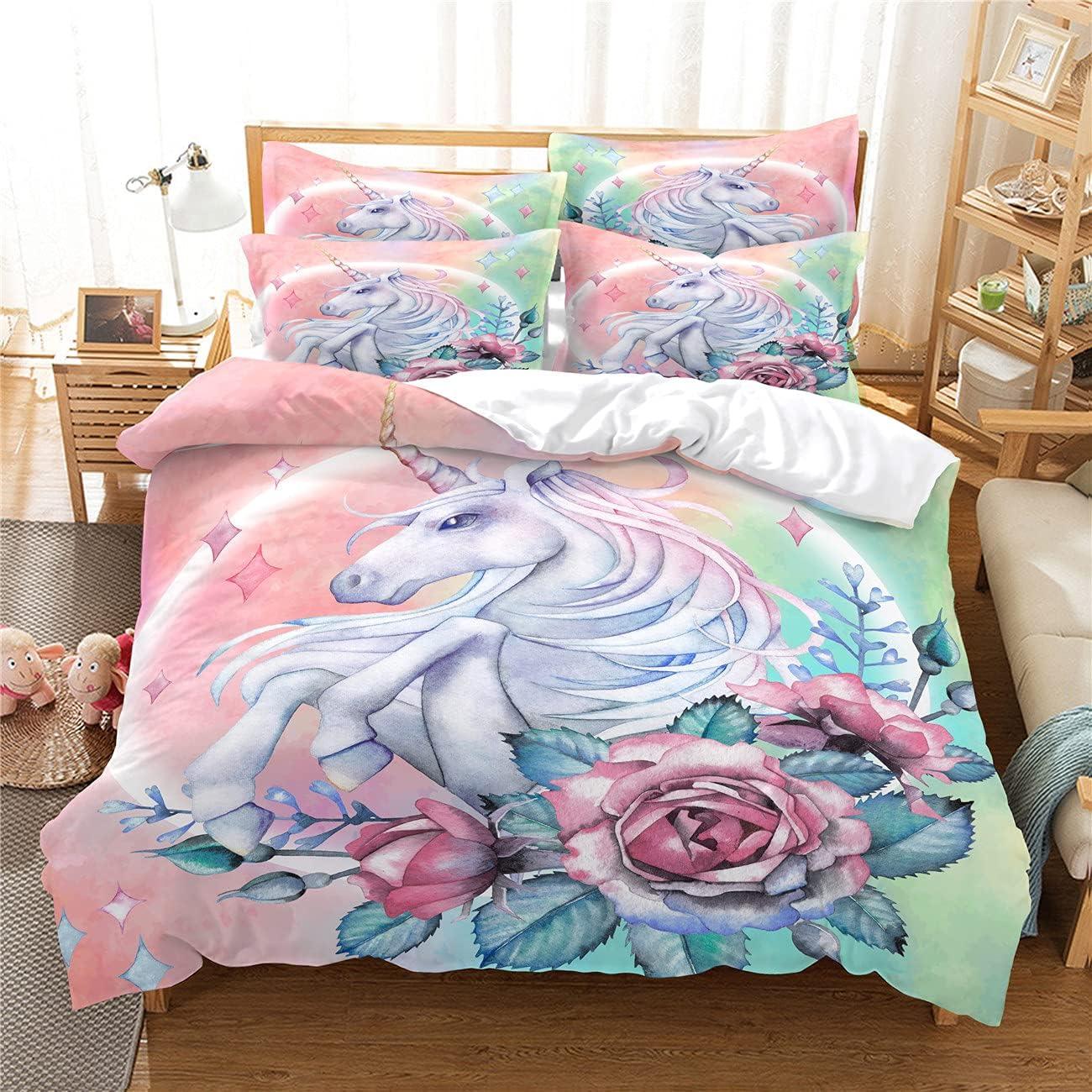 Max 58% OFF MANXI Cartoon Unicorn Flower Bedroom Piece Three Digital In stock P Set