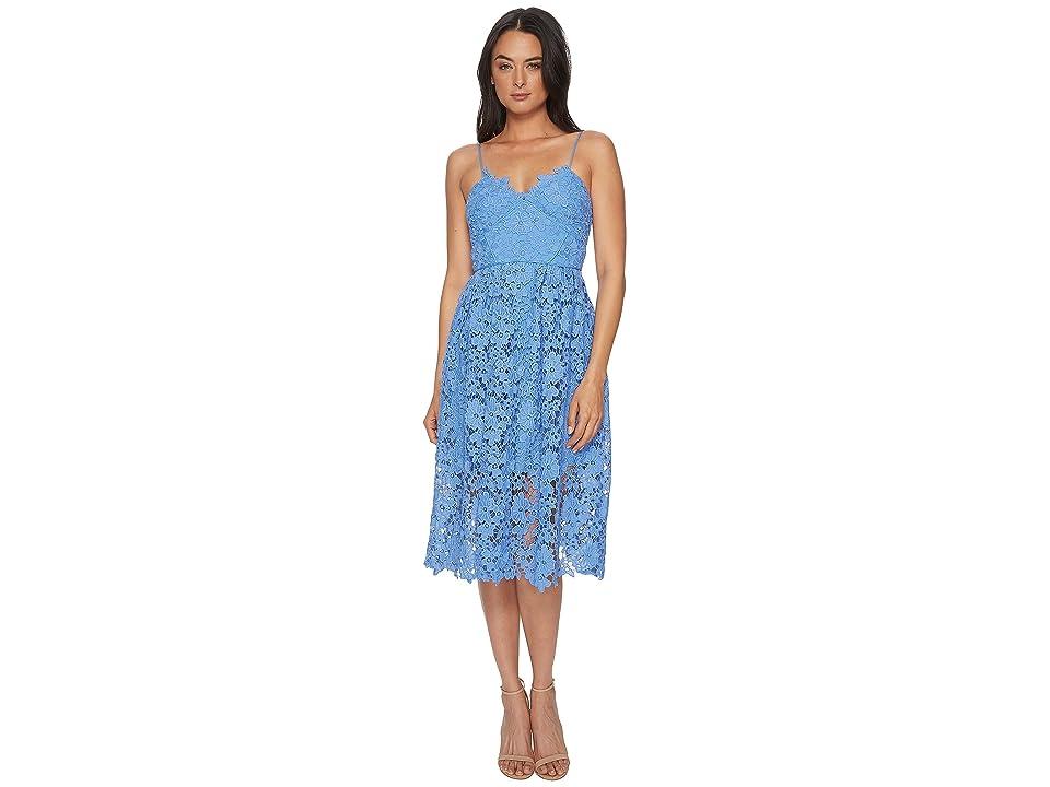 Donna Morgan Spaghetti Strap Lace Midi Dress (Blue Bonnet) Women
