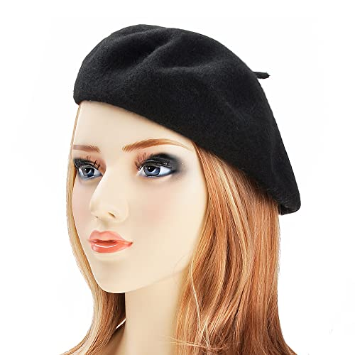 8cea021fc6d66 ZLYC Wool Beret Hat Classic Solid Color French Beret for Women Girls