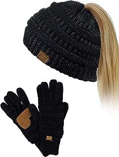 BeanieTail Messy High Bun Cable Knit Beanie and Anti-Slip Touchscreen Gloves Set