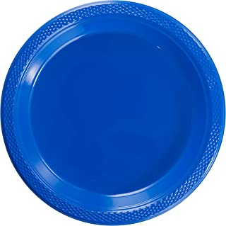 Exquisite 9 Inch. Dark Blue plastic plates - Solid Color Disposable Plates - 100 Count