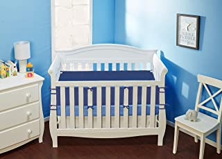 Everyday Kids Crib Bumper Pads - 4-Piece Safe Padded Crib Liner - Machine Washable - Soft Brushed Microfiber Polyester - Nursery Bedding Padding - 4-Piece Crib Bumper (Navy)