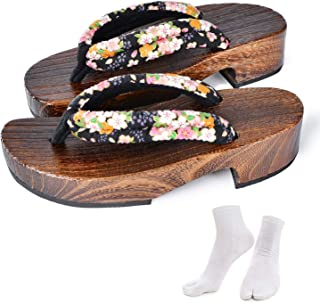 Japanese Wooden Clogs Sandals Japan Traditional Shoes Geta With Tabi Socks For Women