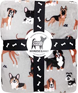 Berkshire Blanket Doggie Drawings Grey Plush Throw Blanket, Lili Chin Designs, 60 inches x 90 inches