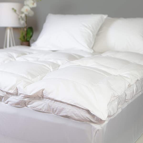 Allied Essentials Luxe 100 Cotton Goose Featherbed Mattress Topper White King