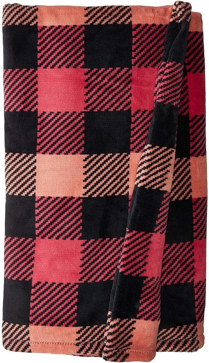 最新号掲載アイテム Vera ファッション通販 Bradley Plush Throw Blanket Garnet Check in Buffalo