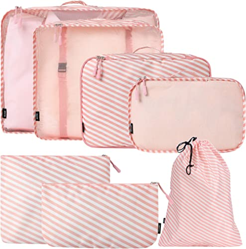 BAGAIL 7-Pcs Lightweight Luggage Packing Organizers Packing Cubes for Travel Accessories(Stripe7)