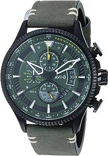 AVI-8 Men's AV-4064 Hawker Hunter Avon Edition Stainless Steel Japanese-Quartz Aviator Watch with Leather Strap
