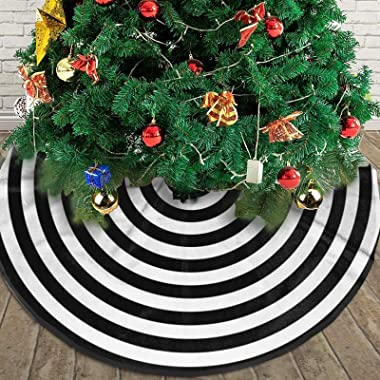 AHOOCUSTOM Small Black and White Christmas Tree Skirt 30 in Annual Rings, Rustic Decorations Farmhouse for Merry Xmas Holiday