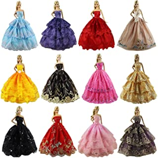 ZITA ELEMENT Lot 6 Pcs Clothes Dress for 11.5 Inch Girl Doll Accessories - Fashion Handmade Wedding Evening Party Dress for 11.5 Inch Doll Clothes Outfits