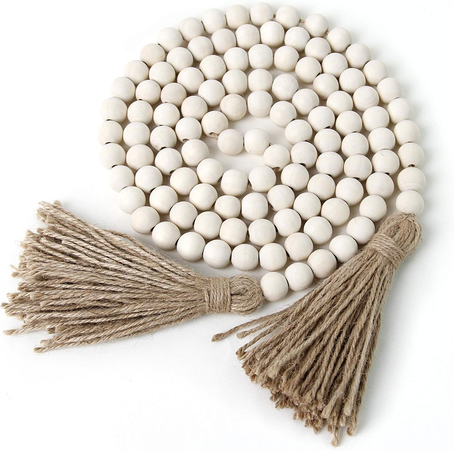 BlueMake 78in Wood Bead Garland Ranking TOP16 San Francisco Mall Country with Rustic Tassels