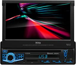 BOSS Audio Elite BV860B Car DVD Player - Single Din, Bluetooth Audio Hands-Free Calling, Built-in Microphone, DVD CD MP3 USB SD Aux-in, AM FM Receiver, 7 Inch Digital LCD, Multi-color Illumination