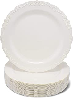 Juvale 25-Pack Elegant Vintage Plastic Dinner or Salad Plates for Birthday, Bridal Shower, and Wedding Party Supplies, Cream with Fine Detailing, 9 Inches