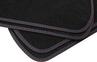 teileplus24 BDV637 Velours Fußmatten Doppelziernaht für BMW X5 F15 X6 F16 xDrive, Naht:Rot/Blau