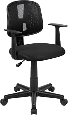Flash Furniture Flash Fundamentals Mid-Back Black Mesh Swivel Task Office Chair with Pivot Back and Arms