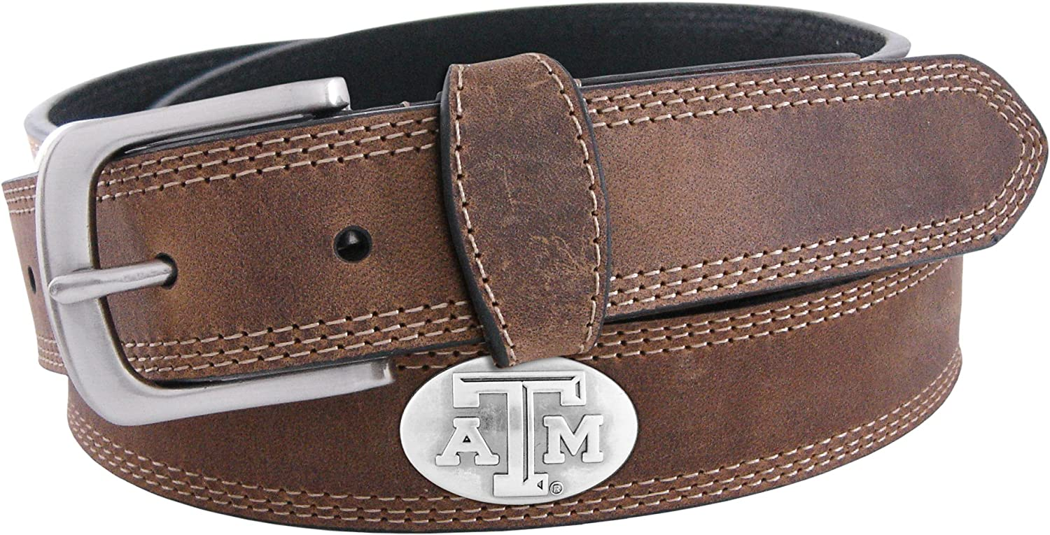 NCAA Texas A&M Aggies Light Crazy Horse Leather Concho Belt