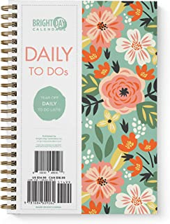 to Do List Daily Task Checklist Planner Time Management Notebook by Bright Day Non Dated Flex Cover Spiral Organizer 8.25 ...